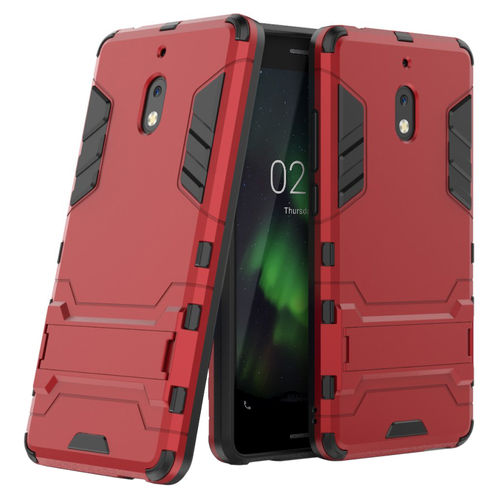 Slim Armour Tough Shockproof Case Stand for Nokia 2.1 - Metallic Red